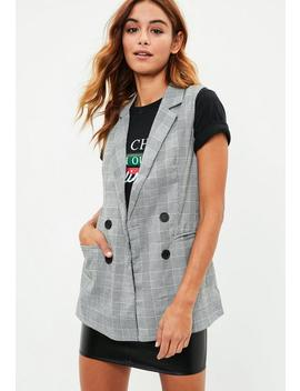 Grey Checked Sleeveless Jacket by Missguided