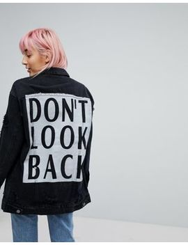 Noisy May Girlfriend Trucker Denim Jacket With Foil Detail by Noisy May