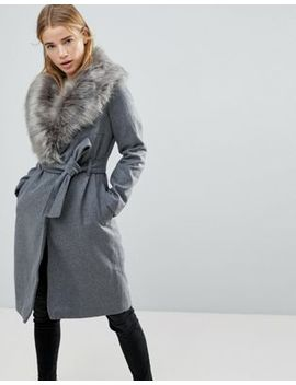 Brave Soul Ada Long Coat With Detachable Faux Fur Collar by Coat