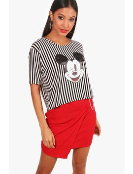Disney Mickey Glitter Stripe Oversized Crop by Boohoo