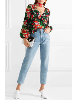 Angie Pussy Bow Floral Print Silk Crepe De Chine Blouse by Rixo London