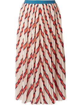 Alvilamma Pleated Striped Chiffon Midi Skirt by By Malene Birger