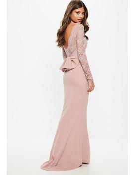 Bridesmaid Pink Backless Lace Bow Detail Maxi Dress by Missguided