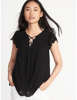 Relaxed Lace Yoke Cutwork Blouse For Women by Old Navy