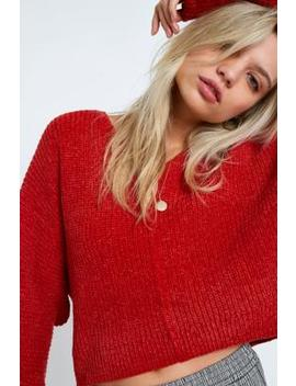 Uo Plush Ribbed Chenille V Neck Jumper by Urban Outfitters