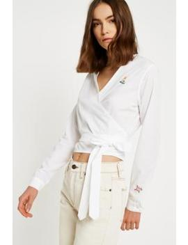 Lupe Space K Embroidered Floral Poplin Wrap Top by Urban Outfitters