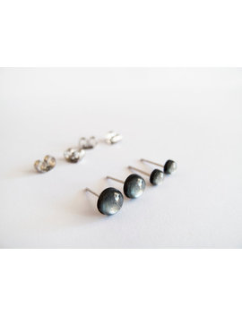 Set Of Tiny 4mm And 6mm Charcoal Stud  Earrings   Hypoallergenic Surgical Steel Posts by Etsy