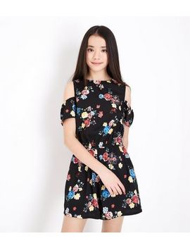 Teens Black Floral Print Cold Shoulder Playsuit by New Look