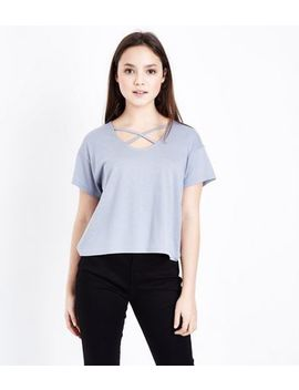 Teens Pale Blue Cross Strap Front T Shirt by New Look