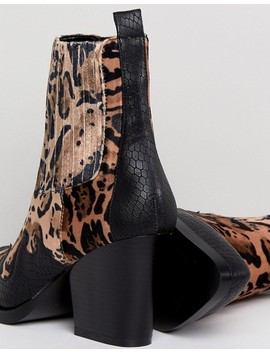 Pretty Little Thing Leopard Print Western Ankle Boot by Pretty Little Thing