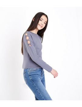 Teens Grey Lattice Shoulder Top by New Look