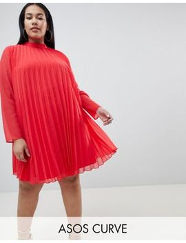 Asos Curve Pleated Trapeze Mini Dress by Asos Curve
