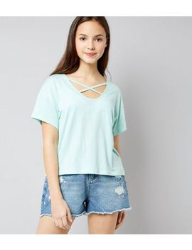 Teens Mint Green Cross Strap Front T Shirt by New Look