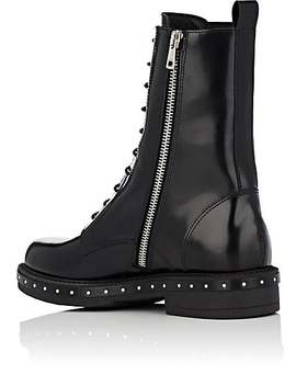 Stud Detailed Spazzolato Leather Combat Boots by Barneys New York