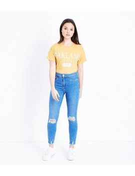 Teens Bright Blue Ripped High Waist Super Skinny Jeans by New Look