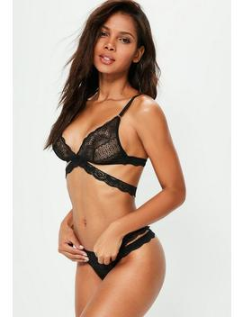 Black Lace Cross Triangle Bra by Missguided