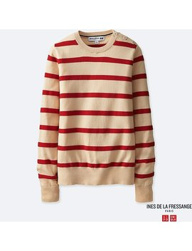 Women Idlf Supima Cotton Striped Sweater by Uniqlo