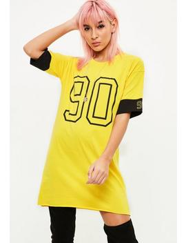 Yellow 90 Contrast Sleeve Oversized T Shirt Dress by Missguided