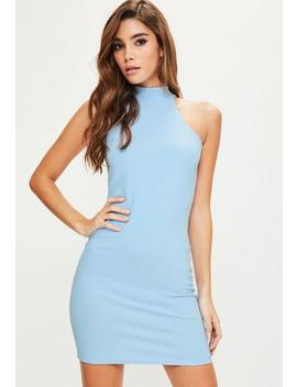 Blue High Neck Bodycon Dress by Missguided