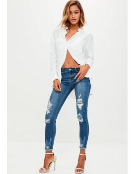 Blue Denim Anarchy Midrise Skinny Jeans by Missguided