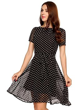 Zeagoo Women Polka Dot Short Sleeve A Line Party Cocktail Chiffon Dress With Belt by Zeagoo