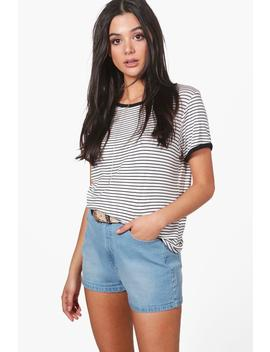 Lola High Rise Denim Mom Shorts by Boohoo
