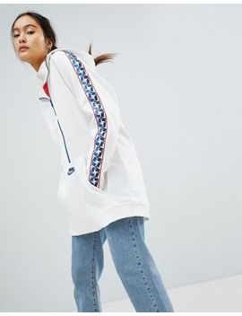 Nike Half Zip Track Jacket In White With Taped Side Stripe by Nike