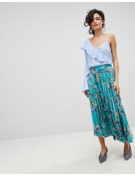 Gestuz Long Pleated Velvet Skirt With Flower Print by Gestuz