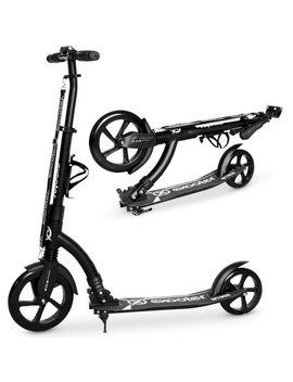 Exooter M1850 Bb 6 Xl Adult Kick Scooter With Front Shocks And 240mm/180mm Black Wheels In Black Finish. by Exooter