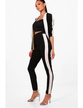 Emily Contrast Side Stripe Skinny Trouser by Boohoo