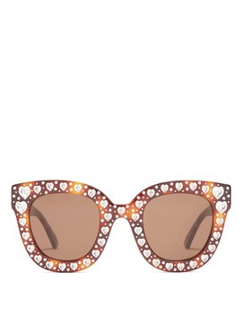 Heart Embellished Cat Eye Sunglasses by Gucci