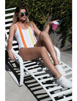Malta Candy Stripe Scoop Swimsuit by Boohoo