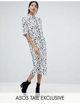 Asos Design Tall Column Dress In Mono Animal Print by Asos Design