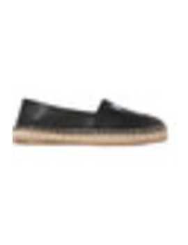 Logo Print Textured Leather Espadrilles by Prada