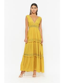 Crochet Trim Maxi Dress by F21 Contemporary