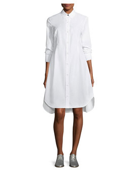Albion Button Front Long Sleeve Poplin Shirtdress by Neiman Marcus
