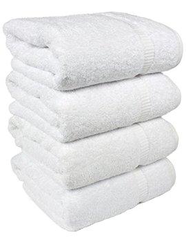 Salbakos Luxury Hotel & Spa Turkish Cotton 4 Piece Eco Friendly Bath Towel Set 27 X 54 Inch, White by Salbakos