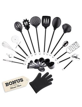 Golden Chef   Premium 22 Piece Stainless Steel & Silicone Cooking Utensils Home Kitchen Tools And Gadgets Set   Includes Measuring Cups, Spoons, And Free Silicone Glove by Golden Chef Collection