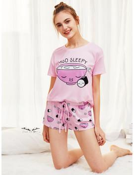 Cartoon Print Top And Drawstring Waist Shorts Pj Set by Shein