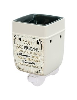 You Are Braver And Smarter Ceramic Stoneware Electric Plugin Outlet Wax Warmer by Elanze Designs