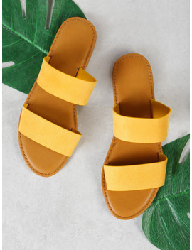 Double Band Slide Sandal Yellow by Sheinside