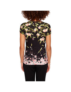 Ted Baker Delilee Peach Blossom Print Fitted T Shirt, Black by Ted Baker