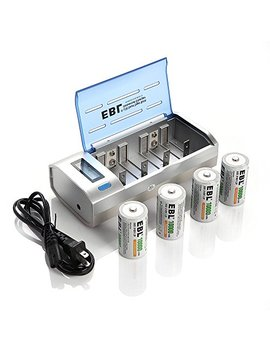 Ebl D Cells 10000m Ah Rechargeable Batteries (4 Counts) With C D 9 V Aa Aaa Battery Charger by Ebl