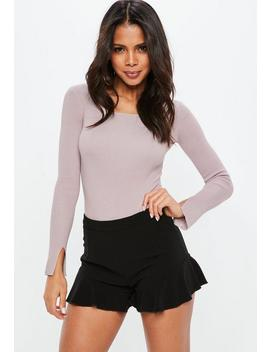 Purple Square Neck Ribbed Knitted Bodysuit by Missguided