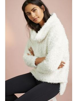 Sherpa Patch Funnel Neck Jumper, Ivory by Anthropologie