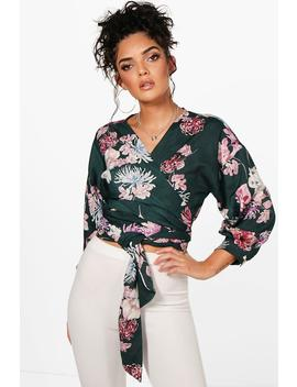 Anna Oriental Floral Print Wrap Blouse by Boohoo