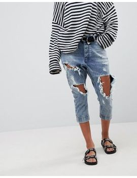 One Teaspoon Kingpins Cropped Boyfriend Jean With Extreme Distressing by One Teaspoon