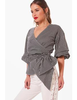 Petite Nelly Volume Sleeve Striped Wrap Blouse by Boohoo