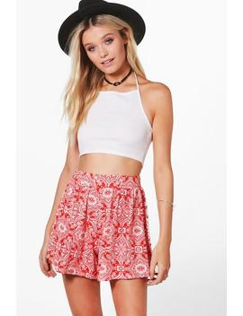 Hayley Tile Print Flippy Shorts by Boohoo