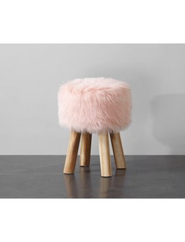 Mainstays Round Faux Fur Stool, Blush by Mainstays